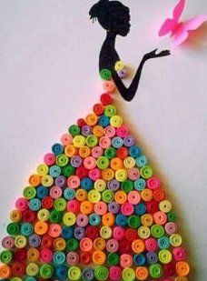 Quilling modele : Beautiful Women on QuillingBlack Silouhette of Young Woman w/Colorful SkirtA really beautiful and simple quilling idea.Was ist Quilling? Wie zu - Mandy Robertson - Willkommen bei Pin WorldBildresultat för quilling on canvas 27 DIY Valen Diy Quilling Crafts, Quilled Paper Art, Paper Quilling Designs, Quilling Paper Craft, Quilling Cards, Paper Crafting, Diy Crafts, Quilling Ideas, Quilling Images