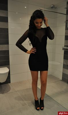 black mesh long sleeve bodycon dress