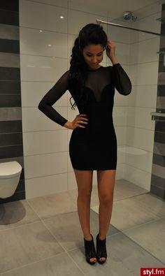 black mesh long sleeve bodycon dress