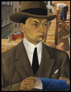"""Exhibition: 'New Objectivity: Modern German Art in the Weimar Republic, 1919-1933' at the Los Angeles County Museum of Art (LACMA). """"This is a mad, dangerous, exciting world in which these artists lived."""" http://artblart.com/2016/01/14/exhibition-new-objectivity-at-lacma/ Art work: Wilhelm Schnarrenberger (1892-1966) 'Portrait of an Architect (Porträt eines Architekten)' 1923"""