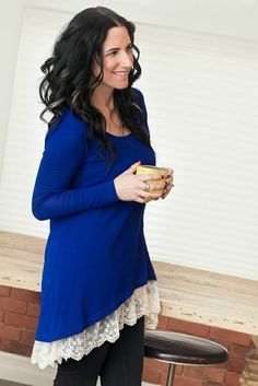 Image of Lace Hem Tunic - Cobalt Blue