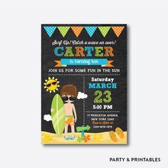 Surfer Boy Chalkboard Kids Birthday Invitation / Personalized (CKB.390)