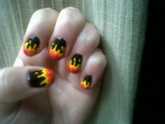 One of the first acrylic nail art design I had done as a teenager was black with flames like this. It was only french tips pior that I had gotten.