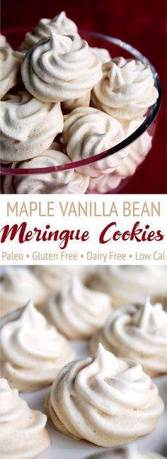 These maple vanilla bean meringue cookies are completely paleo! Maple syrup repl… These maple vanilla bean meringue cookies are completely paleo! Maple syrup replaces refined sugar to create these fluffy, irresistible cookies! Paleo Dessert, Dessert Sans Gluten, Paleo Sweets, Gluten Free Desserts, Healthy Desserts, Gluten Free Recipes, Maple Dessert Recipes, Maple Syrup Recipes, Paleo Appetizers