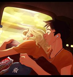 awwww percabeth feels. Bus Trip by Grimmby.deviantart.com on @DeviantArt