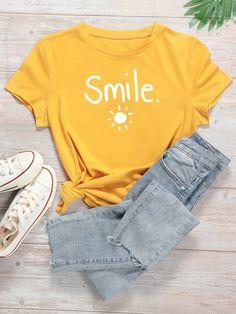 Letter & Sun Print Tee   SHEIN USA Graphic Shirts, Graphic Sweatshirt, Shirt Print Design, Printed Tees, Direct To Garment Printer, Cute Shirts, Short Sleeve Tee, Short Sleeves, Shirt Style