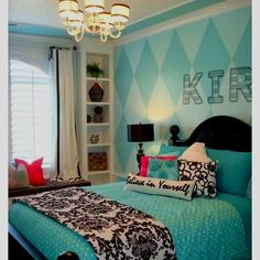 Love the diamond print on the wall. Would be cool in shades of grey!