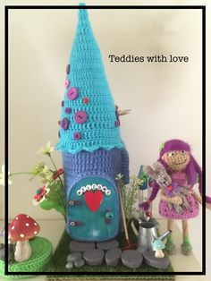 Crochet fairy house piggy bank by teddies with love Crochet Fairy, Piggy Bank, Dolls, Christmas Ornaments, Holiday Decor, House, Inspiration, Home Decor, Baby Dolls