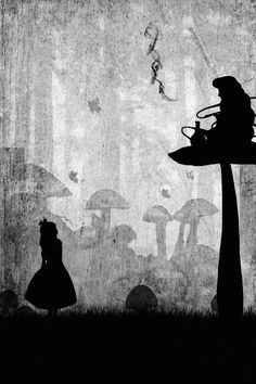 silouette of Alice and caterpillar