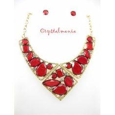 Set de collar y aretes en tono rojo con base dorada estilo 3003