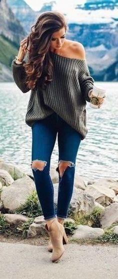#winter #outfits  brown long-sleeved shirt