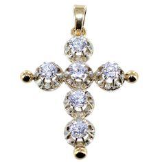 Croix provençale sertie de quartz