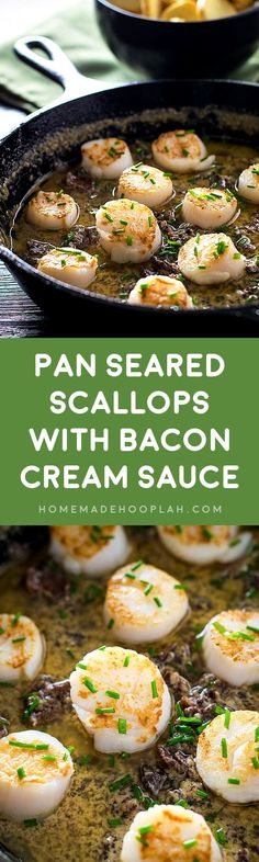 Pan Seared Scallops with Bacon Cream Sauce! Scallops that are pan seared to tender, golden perfection on a bed of creamy and cheesy bacon sauce. | HomemadeHooplah.com
