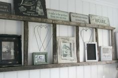 old ladder shelf. Going to do this once my dad gets me my old ladder. Pale Dogwood, Home And Deco, My New Room, My Dream Home, Country Decor, Rustic Decor, Primitive Decor, Primitive Kitchen, Primitive Country