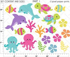 Sea animals for girls Clip art and Digital by pixelpaperprints
