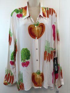 Nicole Taylor #WomensPlus Size 3X 100% Silk Top Button Beaded #Vegetable Blouse #NicoleTaylor
