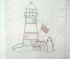 Lighthouse Embroidered Kitchen Towel Flour Sack Kitchen Towel Nautical Patriotic by luvinstitchin4u on Etsy