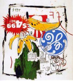 """""""Bananas"""", 1985 - Warhol e Basquiat   O impulso dado por Andy Warhol foi fundamental para que a obra de Basquiat adquirisse um estatuto que até aí o grafitti não tinha."""