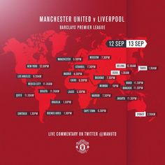 Wherever you are in the world here are the #mufc times for the #mufcliverpool game guys! Enjoy.