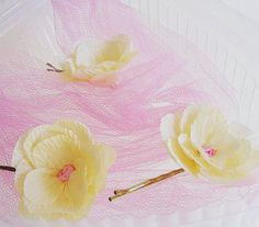 3 PCS little hairflowers high quality Crepe Paper Wedding