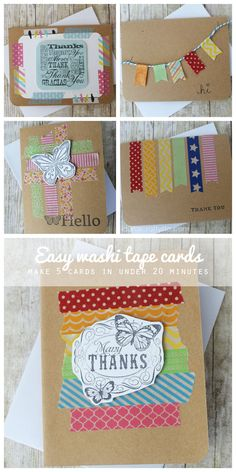 Easy Washi Tape Cards - complete 5 cards in under 20 minutes!