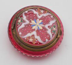 Antique Bohemian Cranberry Glass Patch / Trinket box | eBay