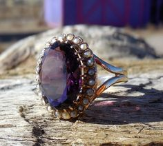 Vintage Antique 8.00ct Amethyst Seed Pearl Unique Engagement Ring 14k Rose Gold Art Deco Victorian by DiamondAddiction on Etsy https://www.etsy.com/listing/263692876/vintage-antique-800ct-amethyst-seed