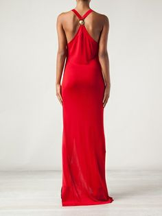 BALMAIN - cross-over strap draped gown