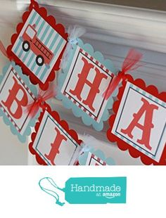 Happy Birthday Vintage Red & Blue Firetruck Fireman Theme Banner -Many Matching Items Available - Door Signs, Favor Tags or Stickers, Place Cards, Cupcake Toppers etc. from Dream Party Paperie http://www.amazon.com/dp/B017E2WUHW/ref=hnd_sw_r_pi_dp_dqBKwb0CMPZ2A #handmadeatamazon