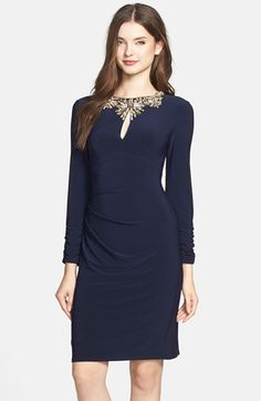 Vince Camuto Embellished Keyhole Gathered Sheath Dress available at #Nordstrom