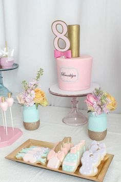 Cake table from a Glam Spa Retreat Birthday Party on Kara's Party Ideas | KarasPartyIdeas.com (18)