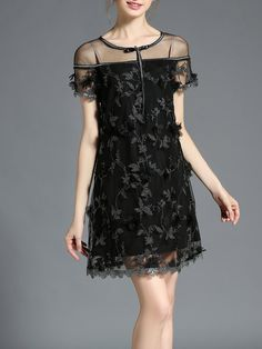 a7b47a7a587 Shop Mini Dresses - Black Embroidered Crew Neck Casual Plain Mini Dress  online… Robes Fluides
