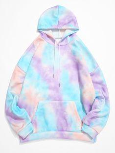 Tie Dye Kangaroo Pocket Fleece Pullover Hoodie - Purple L Girls Fashion Clothes, Teen Fashion Outfits, Girl Fashion, Tie Dye Shirts, Tie Dye Hoodie, Fleece Hoodie, Stylish Hoodies, Cheap Hoodies, Tie Dye Fashion
