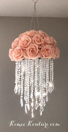 This type of floral nursery can be a very inspirational and great idea Acrylic Chandelier, Diy Chandelier, Chandeliers, Chandelier Crystals, Flower Chandelier, Nursery Chandelier, Chandelier Centerpiece, Red Centerpieces, Floral Nursery