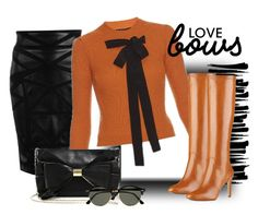 """bows & leather"" by rvazquez ❤ liked on Polyvore featuring Versace, Rochas, Judith Leiber, Nine West and Ray-Ban"