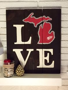 LOVE Detroit Red Wings Michigan Wooden Sign by DutchGirlDecor