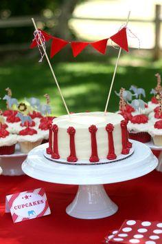 vintage circus birthday party: cake, garland, red, white