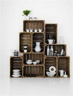 Caixotes de madeira servem para fazer armário