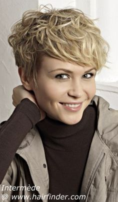 Short pixie cut styled for a playful, sexy and chic look