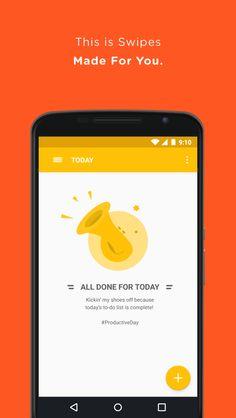 Swipes - To-Do & Task List - screenshot User Interface Design, Ui Ux Design, Google Material Design, Splash Screen, School Planner, Flat Illustration, Illustrations, Evernote, Mobile Ui