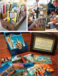 vintage postcards as guest book