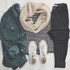 Olive, stripes, black jeans, neutral scarf and converse of course✨ love it