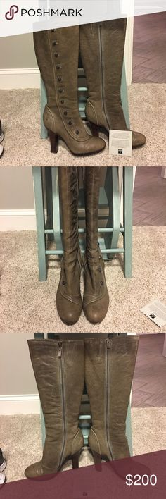 RARE Frye Matilda Button Boot Very rare Matilda Button Boot!! Size 7.5. Worn maybe 2 times.  One Boot is missing a button-I'm working with frye to have it replaced.  These are the cutest boots I've owned! I love getting them out and looking at their Victorian beauty but truth is they don't fit anymore and are just sitting in the box. Someone needs to rock these!!!! Have box and all packaging. Frye Shoes Heeled Boots