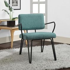 Palm Springs Blue Upholstery Mid Century Accent Chair - 15358817 - Overstock.com Shopping - Great Deals on I Love Living Living Room Chairs