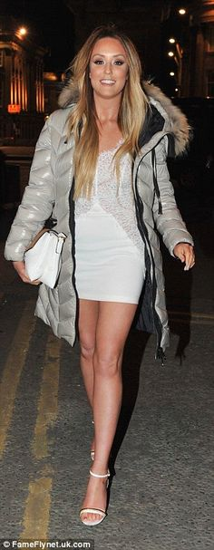 Charlotte Crosby bravely wears tiny white mini-dress during night out #dailymail