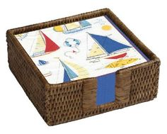 Entertaining with Caspari Rattan Cocktail Napkin Holder with 40 Ship to Shore Paper Napkins, 1-Set by Caspari. $24.81. 40 printed paper cocktail napkins in a brown rattan (wicker) holder. Ship to shore pattern - nautical sailboat design inspired by the coastal resorts of the eastern seaboard. Reusable, refillable rattan holder fits standard paper cocktail napkins. Napkins made of triple-ply tissue printed with non-toxic, water-soluble dyes; biodegradable and composta...