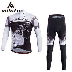 Miloto Long Sleeve Cycling Jersey Sets Bicycle Mtb Bike Sportswear Gel Pant Set ropa ciclismo Racing Cycling Clothing XS-5XL