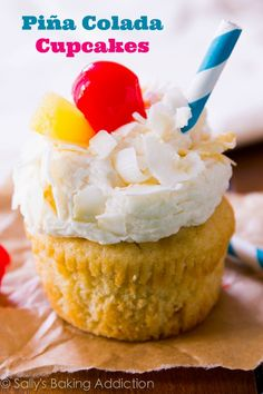 Pina Colada Cupcakes - moist pineapple coconut cupcakes topped with coconut frosting. Tastes like your favorite tropical cocktail!