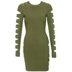 'Sorcery' Khaki Cut Out Bandage Dress - Mistress Rocks ($140) ❤ liked on Polyvore featuring dresses, green long sleeve dress, long sleeved holiday dresses, cutout dresses, long sleeve dress and cut-out dresses