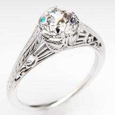 Antique Filigree Engagement Ring Circa 1930's